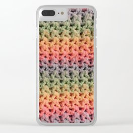 Colorful Chunky Knitted Effect Clear iPhone Case