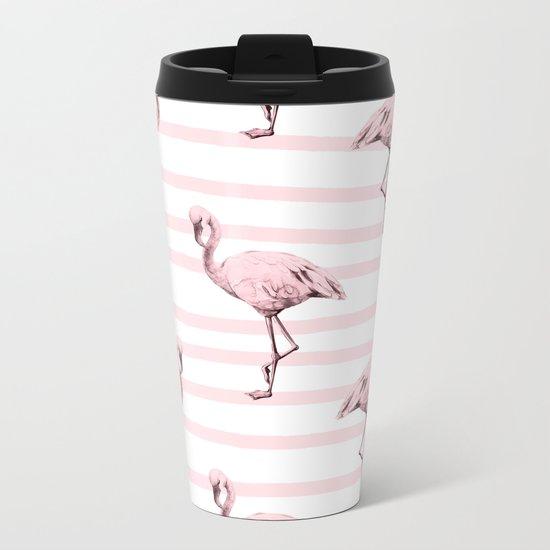Flamingos on Drawn Stripes in Pink Flamingo Metal Travel Mug
