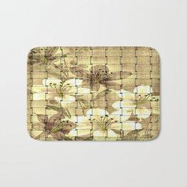 Vintage Floral Basket Weave Bath Mat
