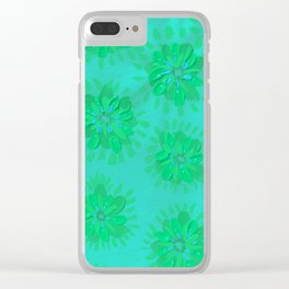 Teal Petal Rose Clear iPhone Case