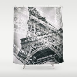 Eiffel Tower Double Exposure Shower Curtain