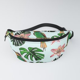 tropical leaf and birds pattern  Fanny Pack
