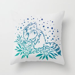 Snowcat in Spring Throw Pillow