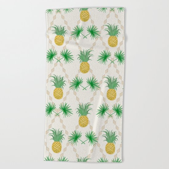 Exotic tropical seamless pattern with palm branches and pineapples . Beach Towel
