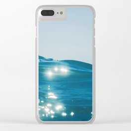 Sea wave close up, low angle view water background Clear iPhone Case