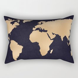 World Map Metallic Copper on Navy Blue Rectangular Pillow