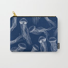 Jellyfish Print - Navy Carry-All Pouch