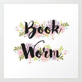 Book worm (white) Art Print