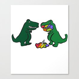 Was That The Last Unicorn? Maybe? Funny Dinosaur print Canvas Print
