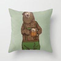 german Throw Pillows featuring Traditional German Bear by WanderingBert / David Creighton-Pester
