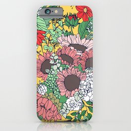 Pretty aspen gold and pink floral design iPhone Case