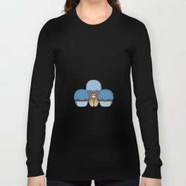 Cute Monster With Blue And Red Frosted Cupcakes Long Sleeve T-shirt