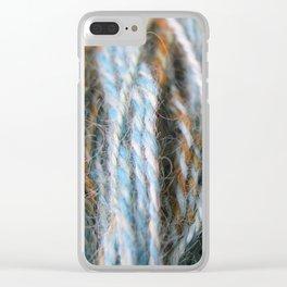Aqua, teal, blue, rust, orange brown handspun yarn Clear iPhone Case