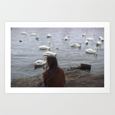 WOMEN AND SWANS Art Print