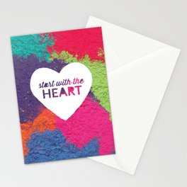 Start With The Heart Quote Print Stationery Cards
