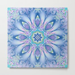 Soft blue fantasy flower Metal Print