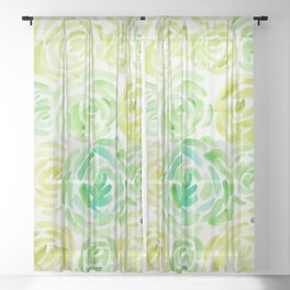 6     190411 Flower Abstract Watercolour Painting Sheer Curtain
