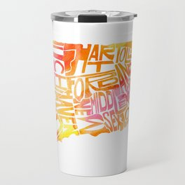 Typographic Connecticut - orange watercolor map Travel Mug