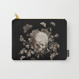 BLACK GOTHIC FLORAL SKULL Illustration Carry-All Pouch