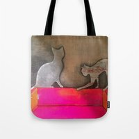 sofa Tote Bags featuring pink sofa cat by xoxo