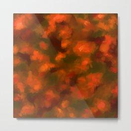Red, Orange Floral Abstract Metal Print