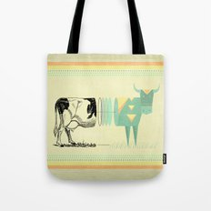 the black and white cow who wanted to be colorfully geometric  Tote Bag