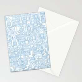 gingerbread town blue Stationery Cards