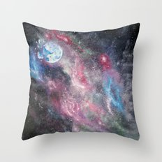 Space and the Moon Throw Pillow