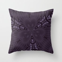 Pale Aubergine and Eggplant Abstract Pattern Kaleidescope Throw Pillow