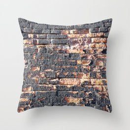 black orange urban worn damaged brick wall photo texture Throw Pillow