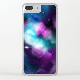 Galaxy, dreams in turquoise and violet Clear iPhone Case