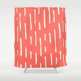 hip white lines on Living Coral Shower Curtain
