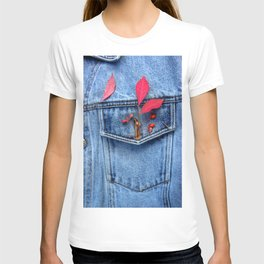 Jeans jacket with red leaves T-shirt