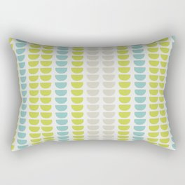Grey, Green and Blue Abstract Stripe Pattern Rectangular Pillow