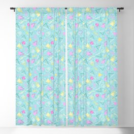 Baby Blue Retro 90s Sprinkle Pattern Blackout Curtain
