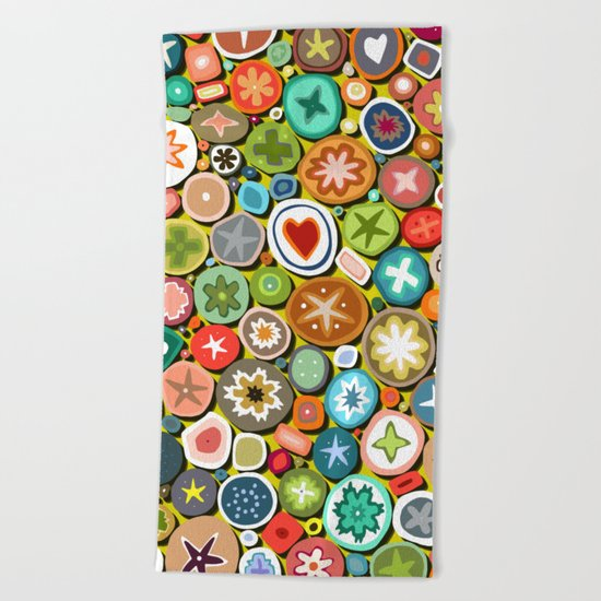 millefiori yellow Beach Towel