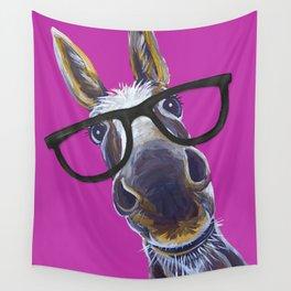 Up Close Donkey Art, Donkey with Glasses Art Wall Tapestry