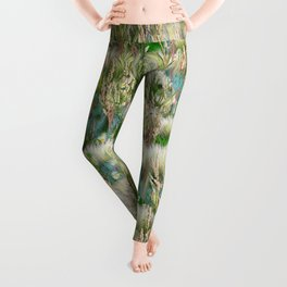 Wild Eco-friendly Native Grasses and Flowers in Spring Leggings