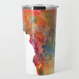 Africa Watercolor Map Art by Zouzounio Art Travel Mug