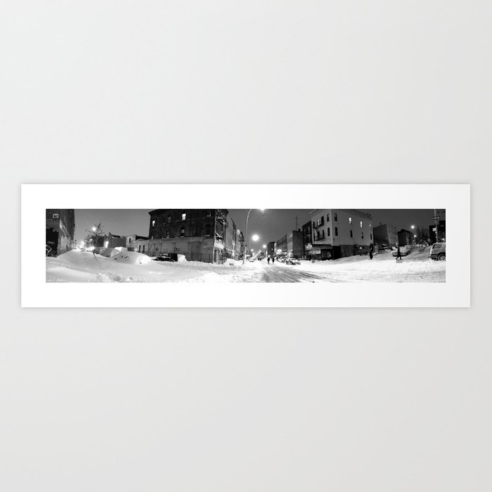 late night stroll in the snow Art Print