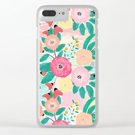 Modern brush paint abstract floral paint Clear iPhone Case