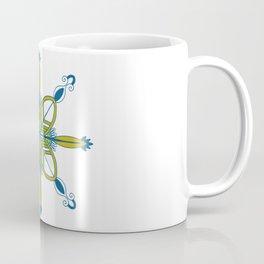 Indian symmetry blue flower folk art motif Coffee Mug