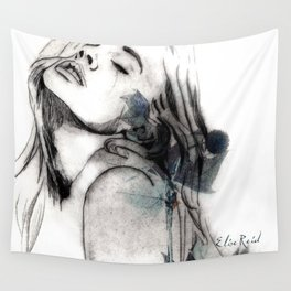 Fashion Illustration Blue Flower Sister 2 Wall Tapestry