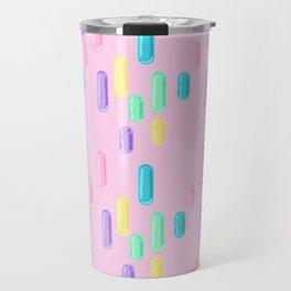 Pastel Candy Pill Pattern on Pink Travel Mug