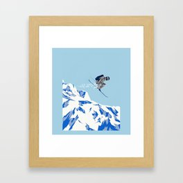 Airborn Skier Flying Down the Ski Slopes Framed Art Print