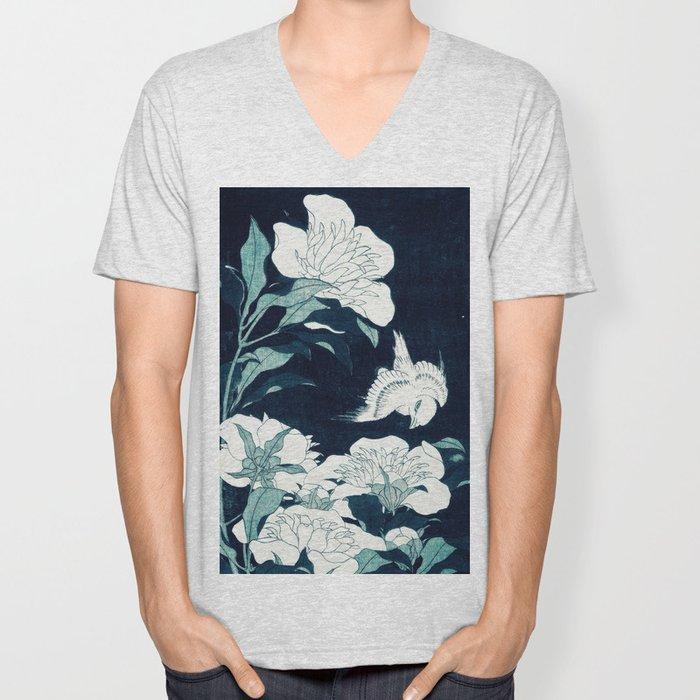 JAPANESE FLOWERS Midnight Blue Teal Unisex V-Neck