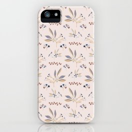 Pink Natural Leaf Berry Branch Vector Pattern, iPhone Case