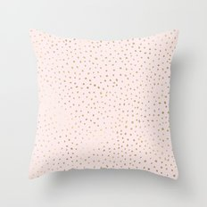 Dotted Gold & Pink Throw Pillow