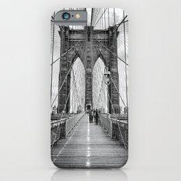 Brooklyn Bridge, New York City (rustic black & white) iPhone Case