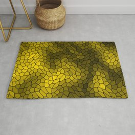 Stained glass texture of snake gold leather with bright heat spots. Rug